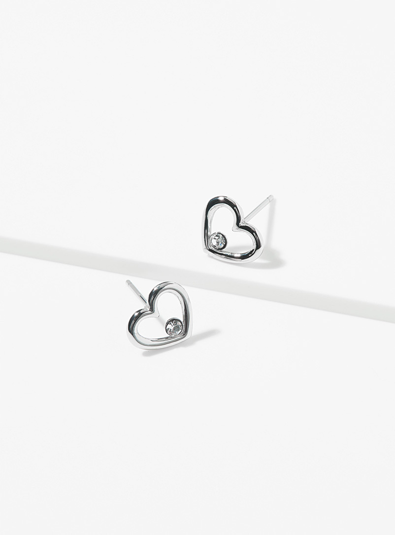 Heart and crystal earrings