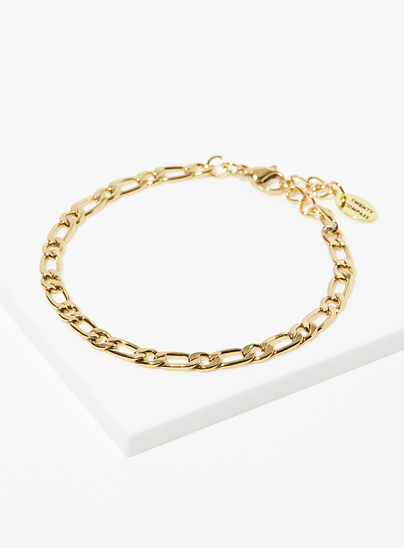 Twenty Compass Gold Figaro thin bracelet for women