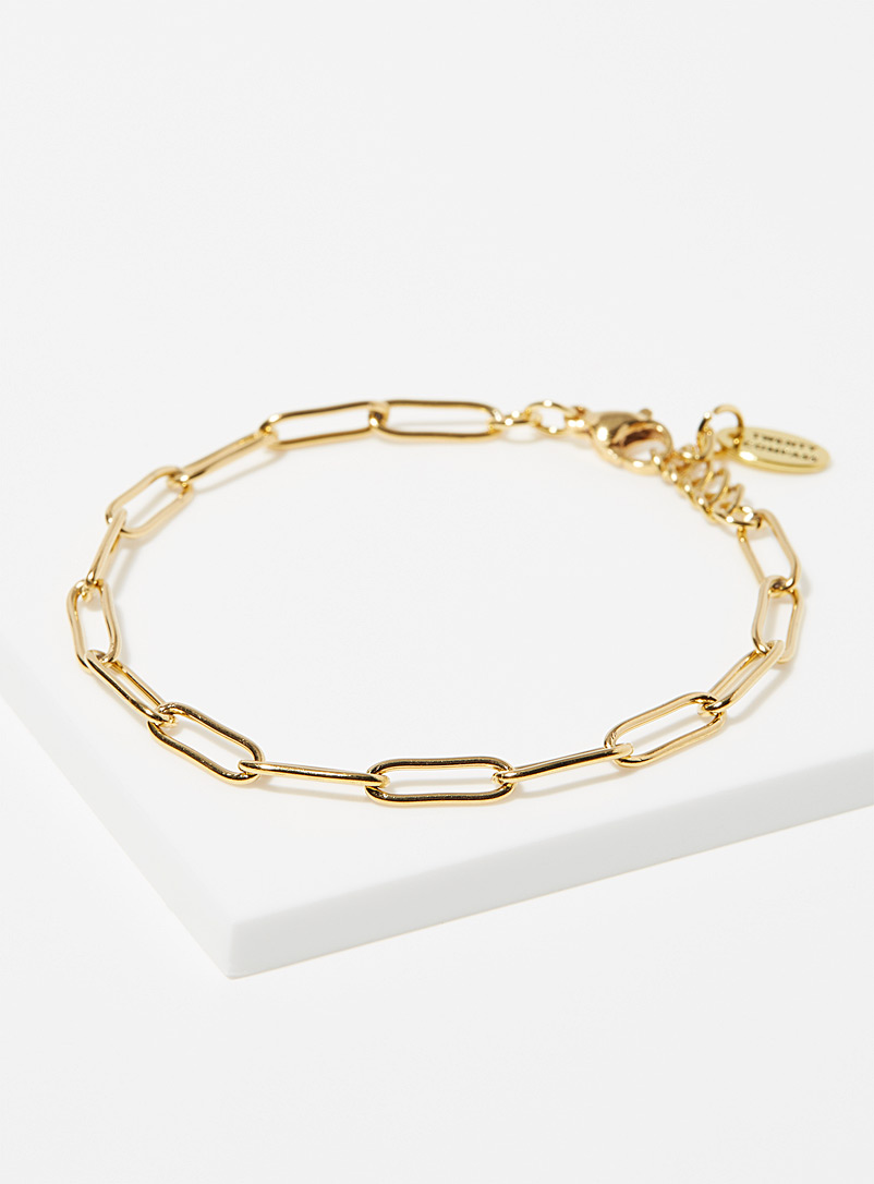 Twenty Compass Gold Paperclip bracelet for women
