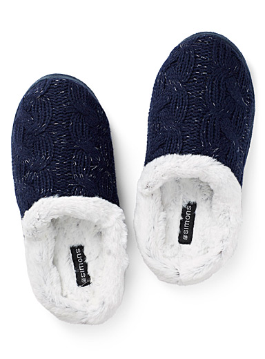 Shimmery knit mule slippers