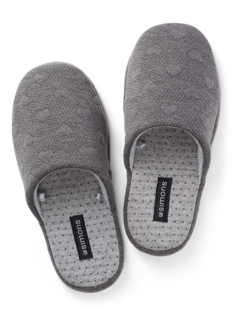 Heart knit mule slippers - Slippers - Charcoal