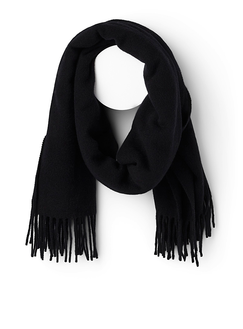 Pure wool fringed scarf - Winter Scarves - Black