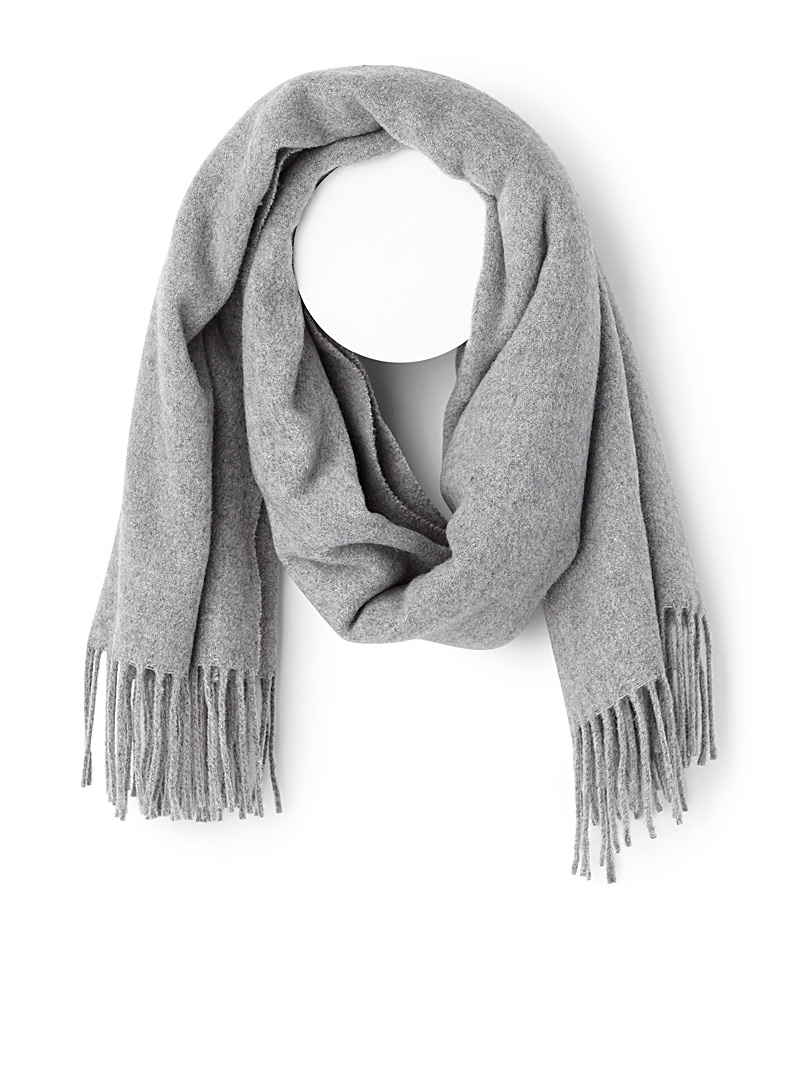 Pure wool fringed scarf - Winter Scarves - Silver