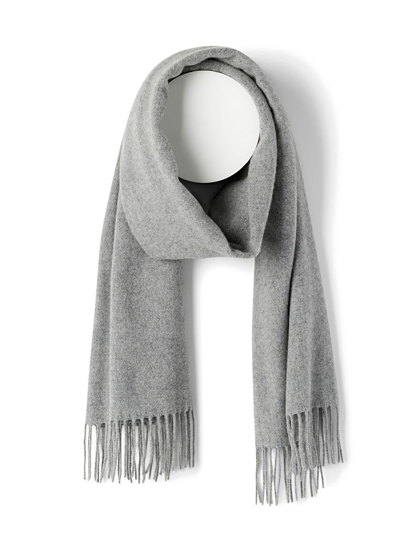 Simons Grey Solid pure wool scarf for women
