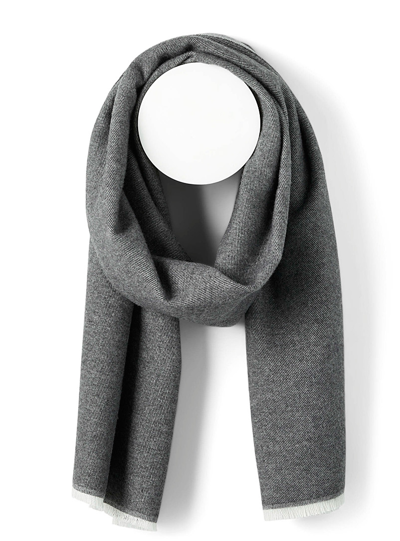 Simons Silver Two-tone wool scarf for women