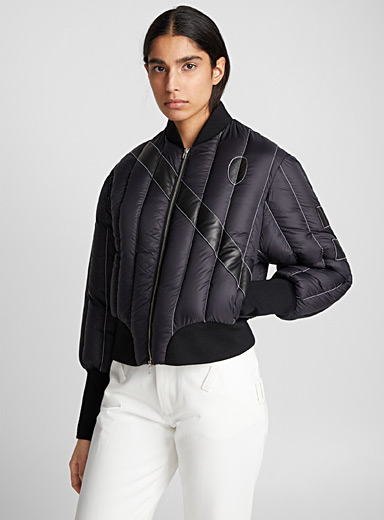 Leather band quilted jacket