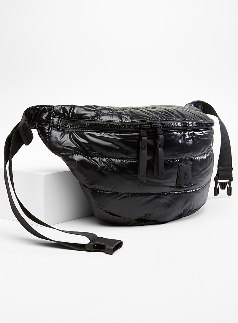 Shiny quilted belt bag - Life on the Go - Black