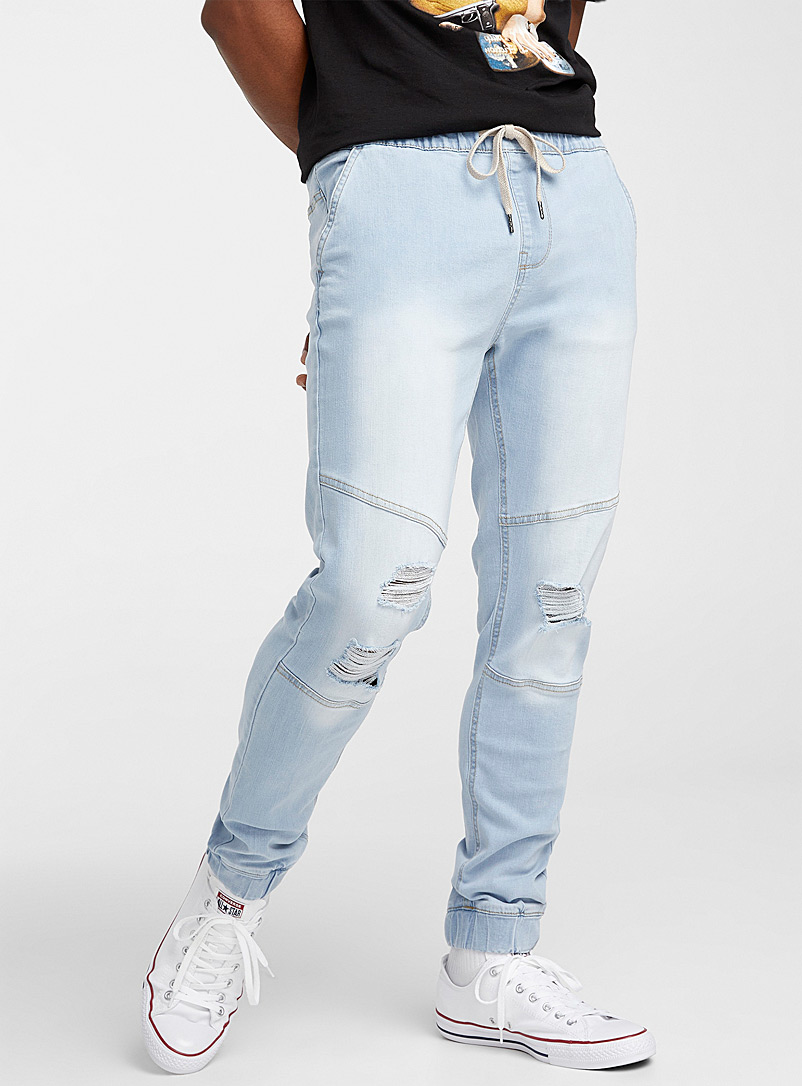 Djab Baby Blue Articulated denim joggers Slim fit for men