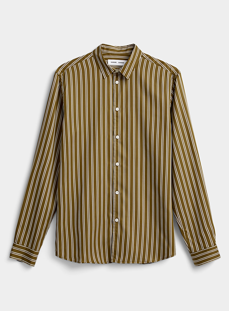 Samsøe & Samsøe Mossy Green Double-stripe fluid shirt for men