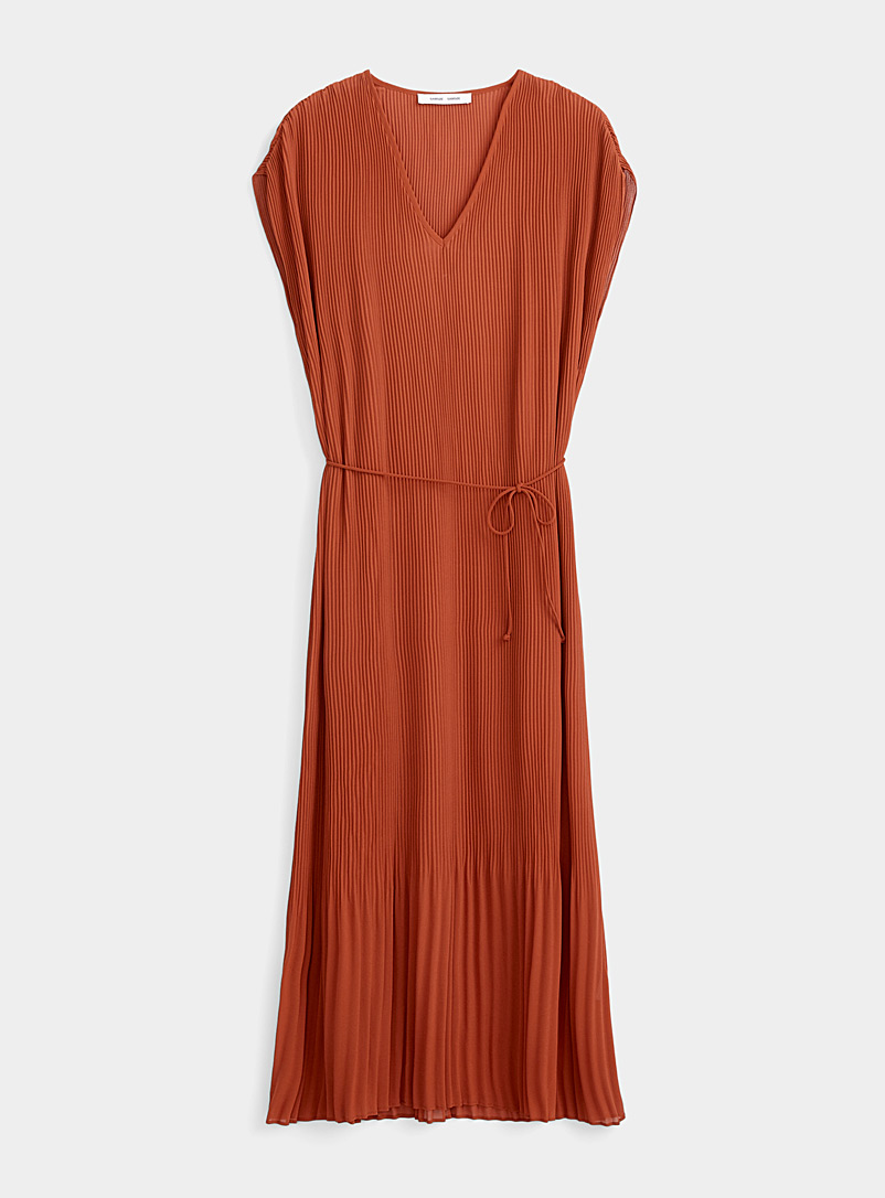 Samsøe & Samsøe Copper Rust pleated maxi dress for women