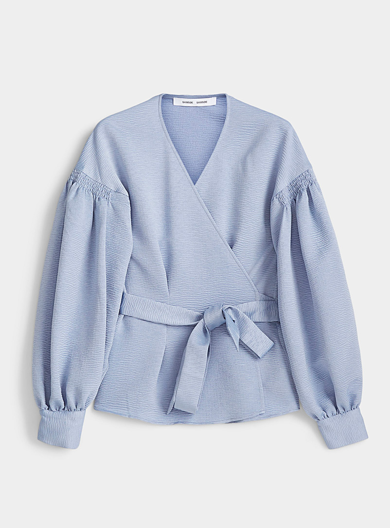 Samsøe & Samsøe Blue Merrill textured wrap blouse for women