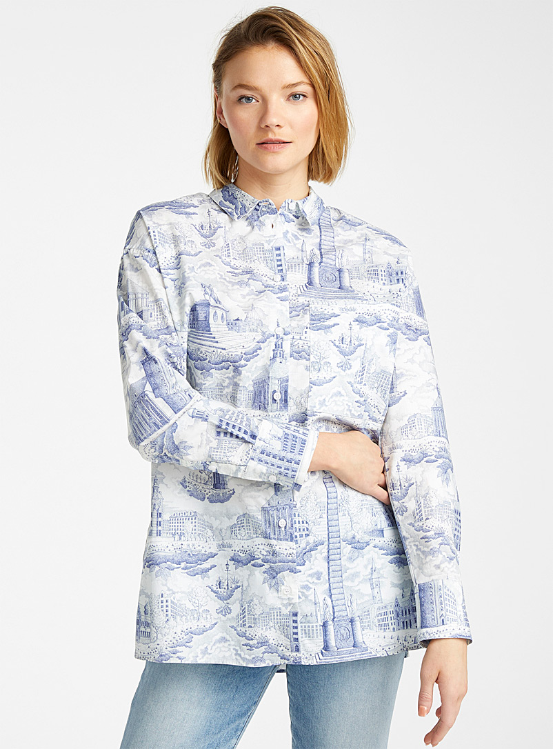 Samsøe & Samsøe Patterned Blue Loraine Danish architecture shirt for women