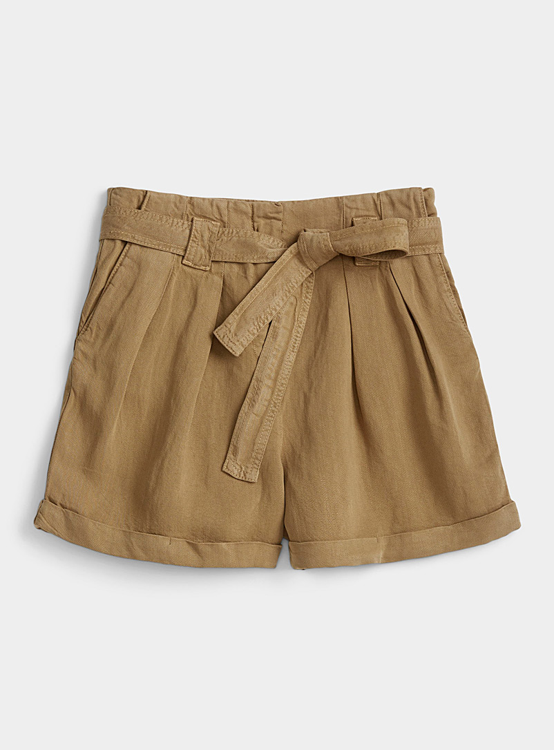 Samsøe & Samsøe Khaki Manz pleated-waist Bermudas for women