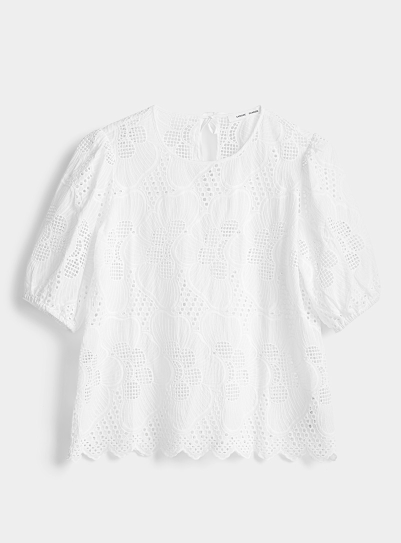 Samsøe & Samsøe White Juni broderie anglaise blouse for women