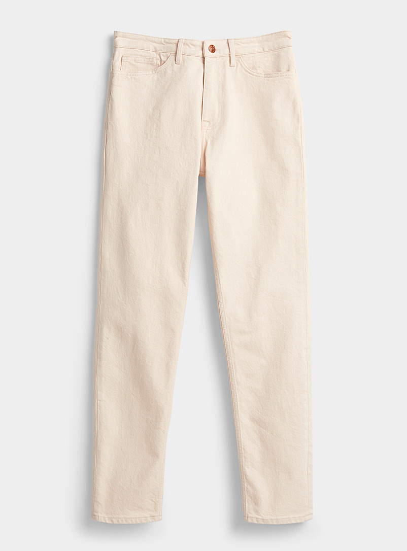 Samsøe & Samsøe Cream Beige Off-white stretch organic cotton jean  Straight fit for men