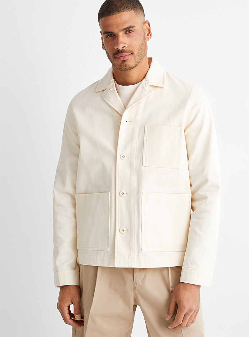 Samsøe & Samsøe Cream Beige Workwear overshirt jacket for men