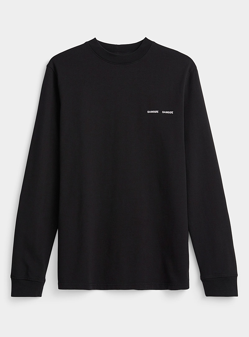 Samsøe & Samsøe Black Organic cotton long-sleeve T-shirt for men