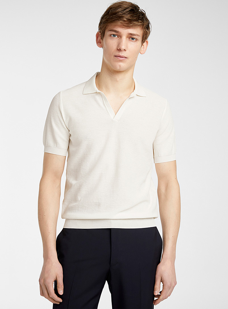 CC Collection Corneliani Ivory White Galas polo for men