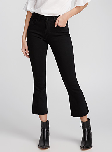 Frayed flared black jean
