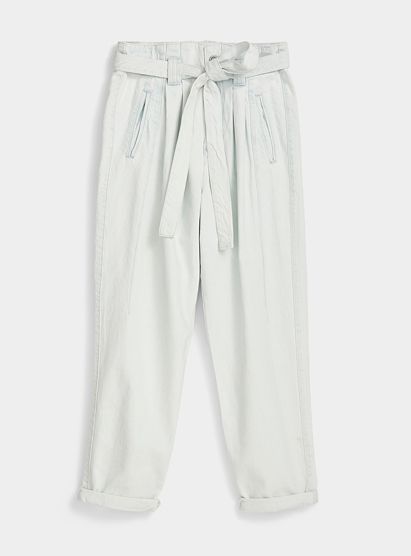 Ic?ne Baby Blue Tie-belt faded balloon jean for women