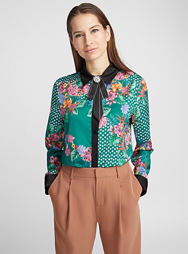 Jewel knot dotted floral shirt