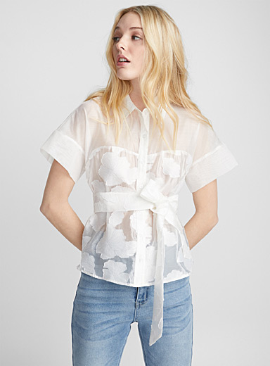 Monochrome flowers sheer shirt