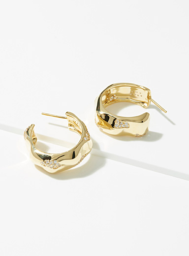 Joanna Laura Constantine Assorted Wavy hammered hoops for women
