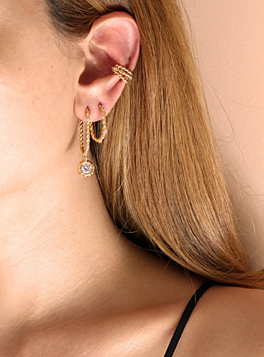 Twisted hoop crystal earring trio