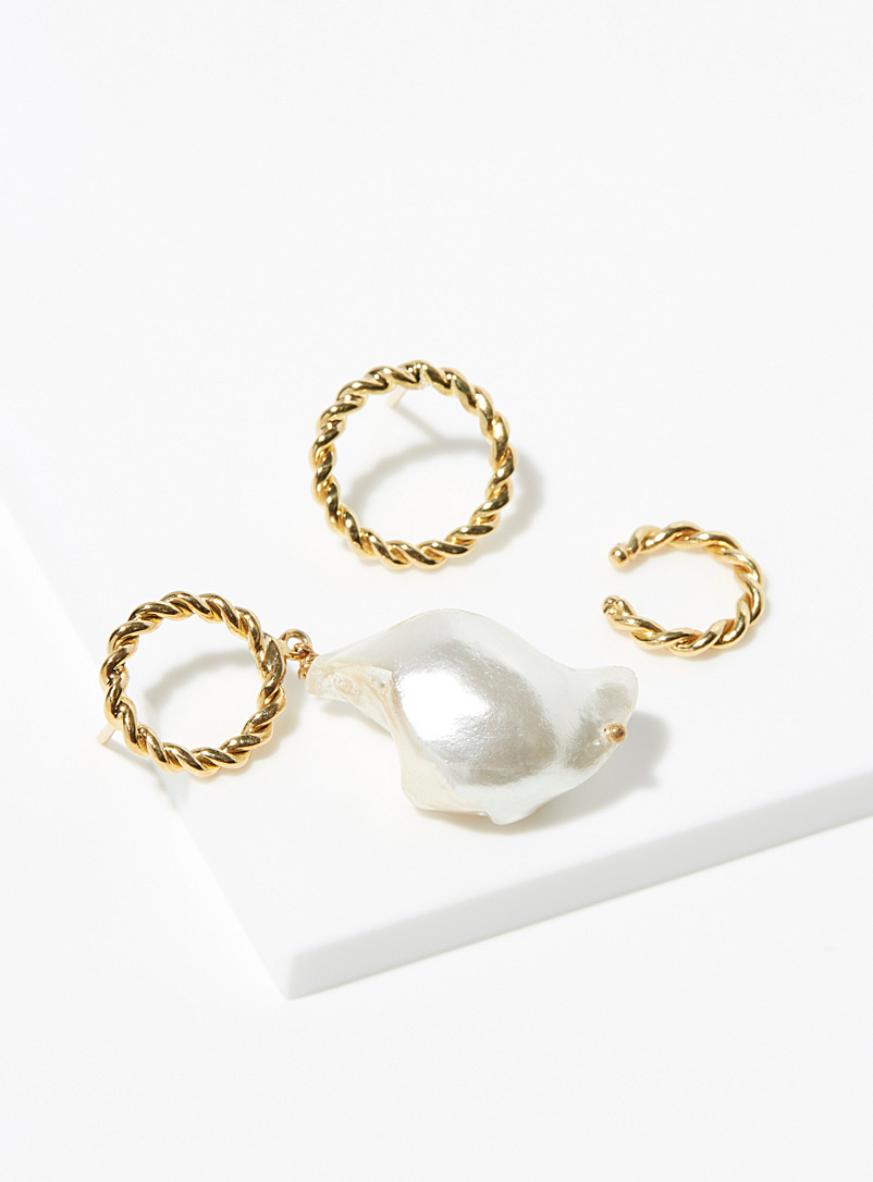 Joanna Laura Constantine Assorted Hoop and teardrop pearl earring trio for women