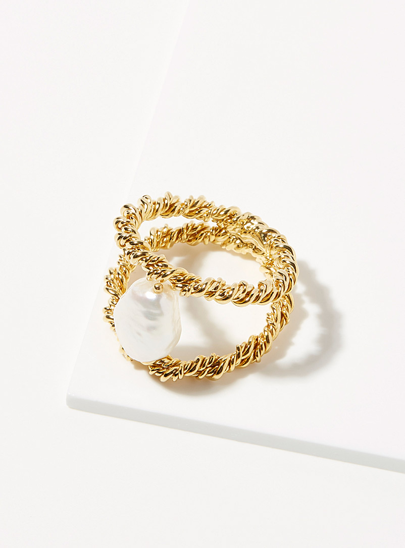 Joanna Laura Constantine Assorted Feminine waves pearl twisted ring for women