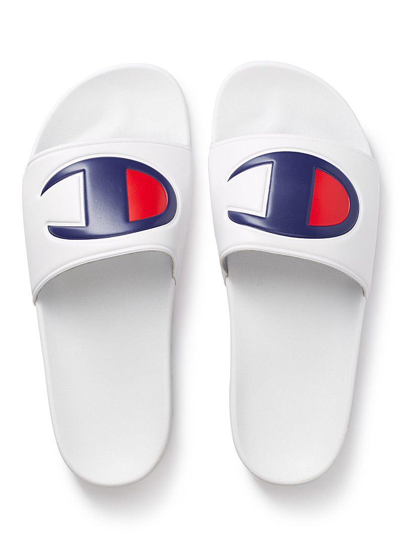 Oversized logo slides  Men - Sandals - White