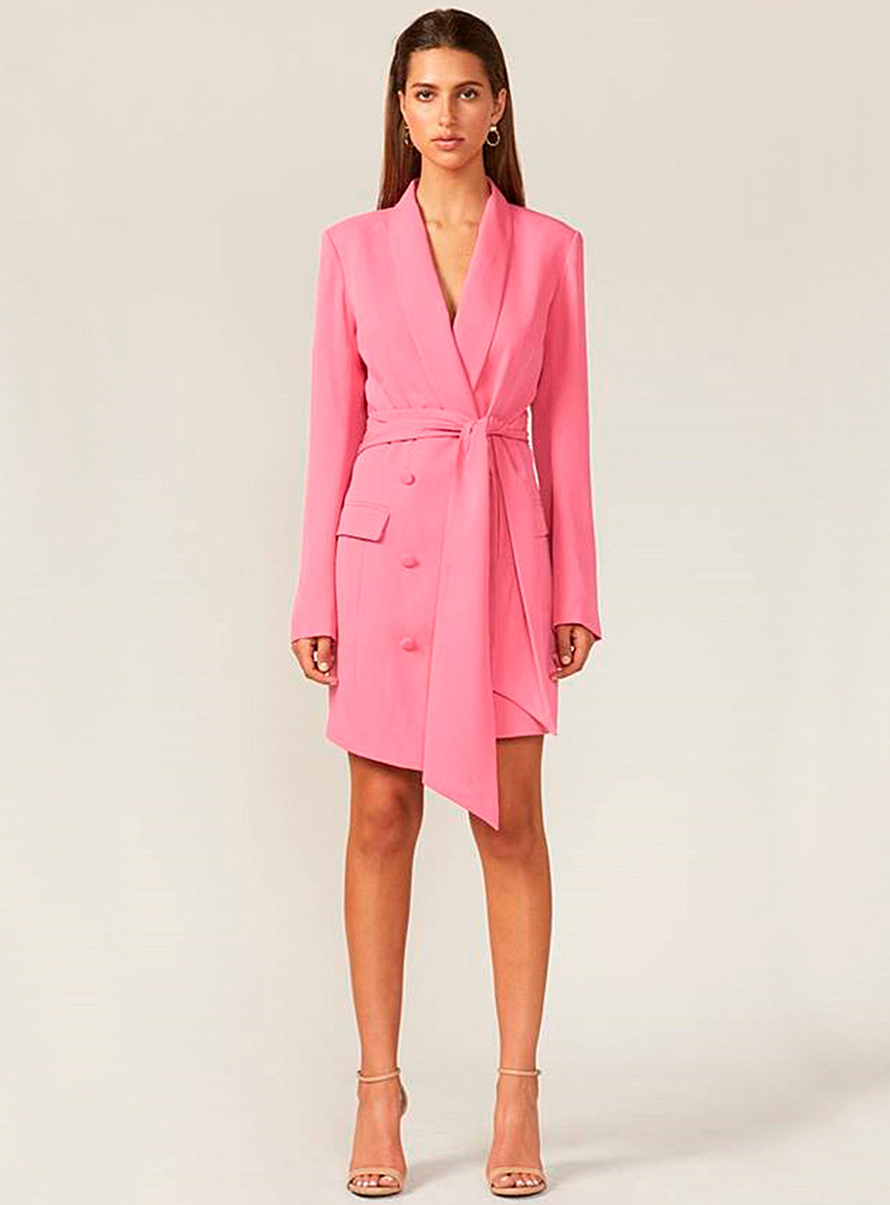 Adelyn Rae Pink Bubblegum pink belted dress for women