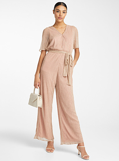 Pleated rose gold jumpsuit