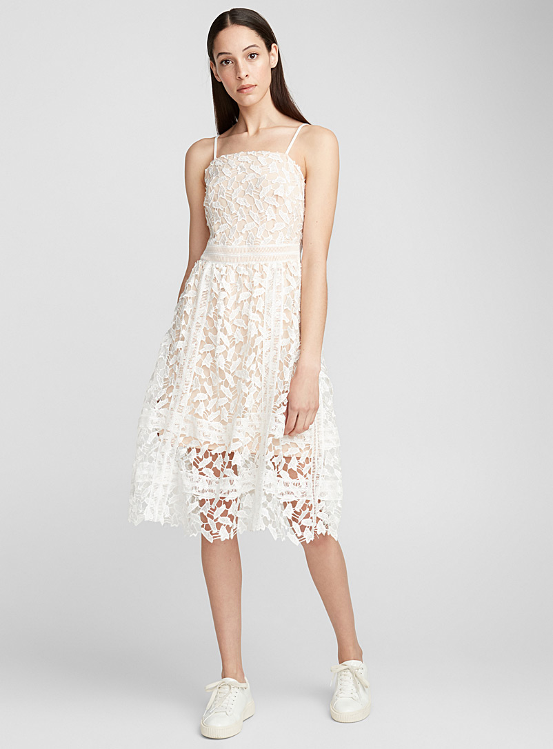 Two-tone guipure dress - Fit & Flare - Ivory White