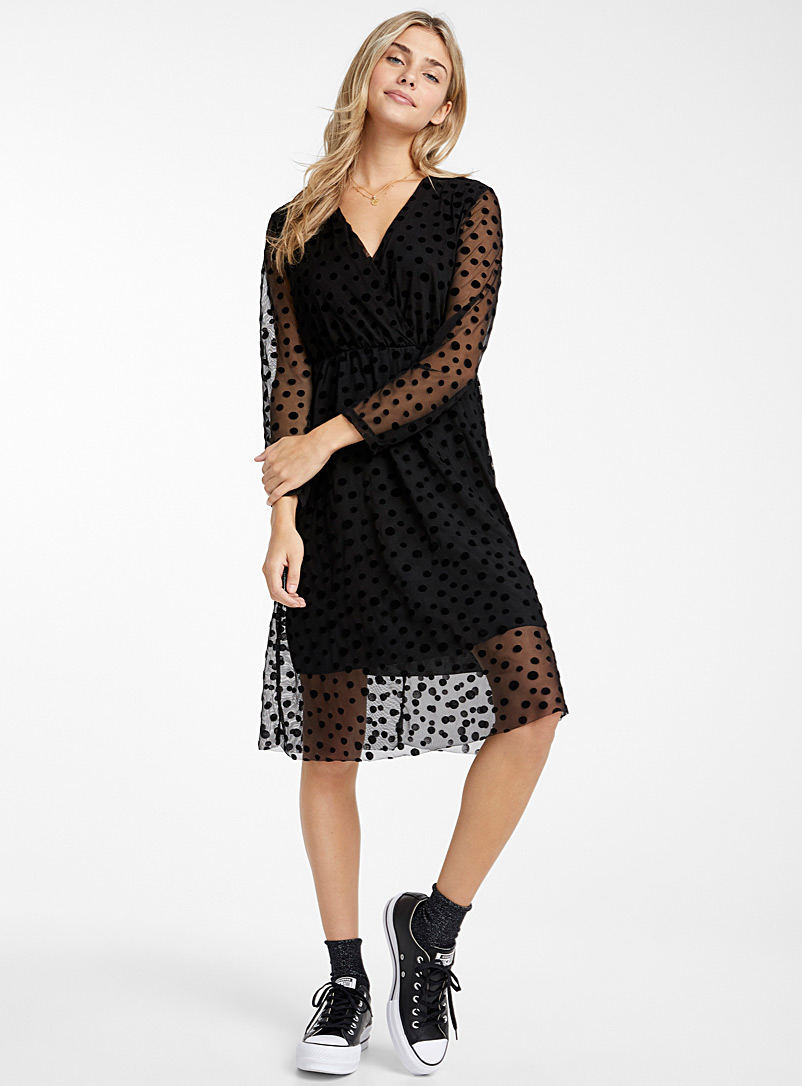 Dotted tulle crossover dress - Fit & Flare - Black