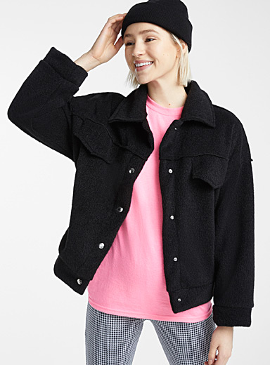 Wool-like boxy jacket