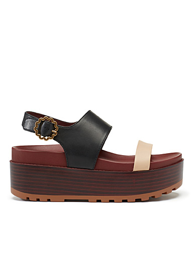 Two-tone wedge sandals