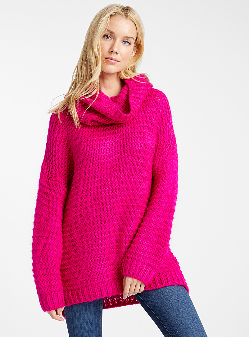 Le pull mohair point mousse col tombant - Pulls - Rouge moyen-framboi-ceris