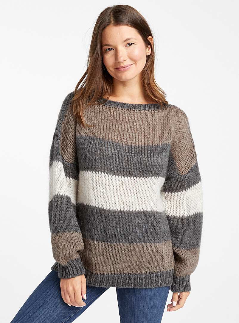 Le pull ample rayures terreuses - Pulls - Charbon