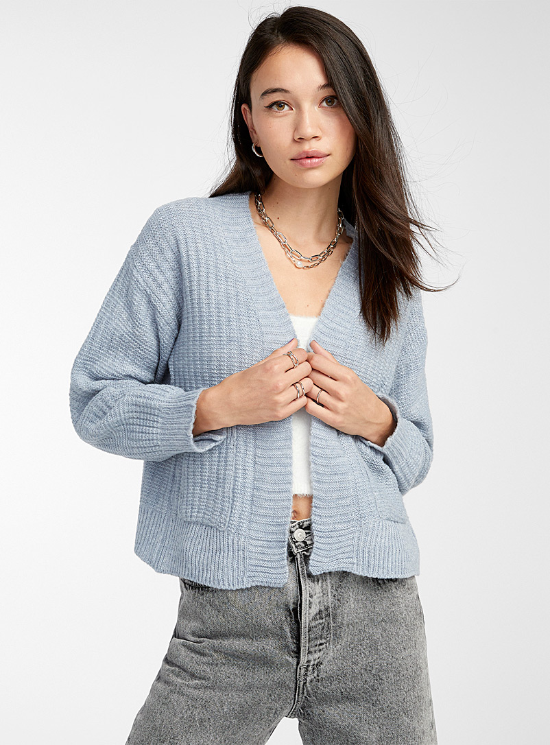 Twik Baby Blue Patch pocket ribbed open cardigan for women
