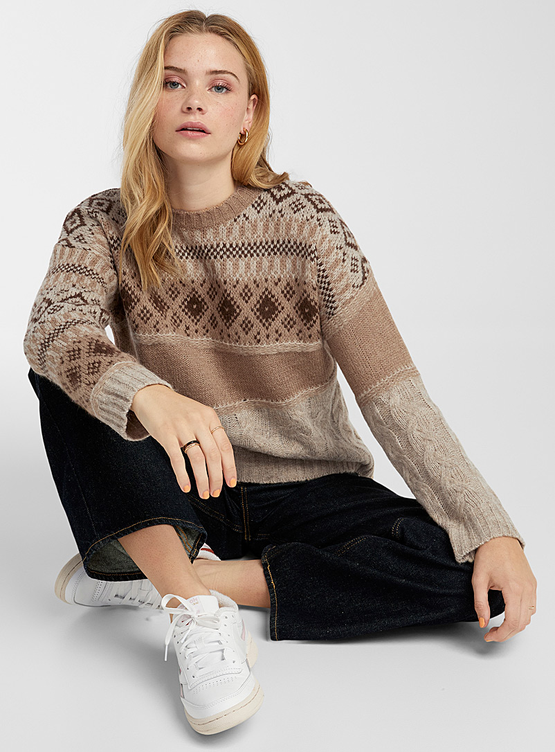 Twik Patterned Brown Patchwork jacquard sweater for women