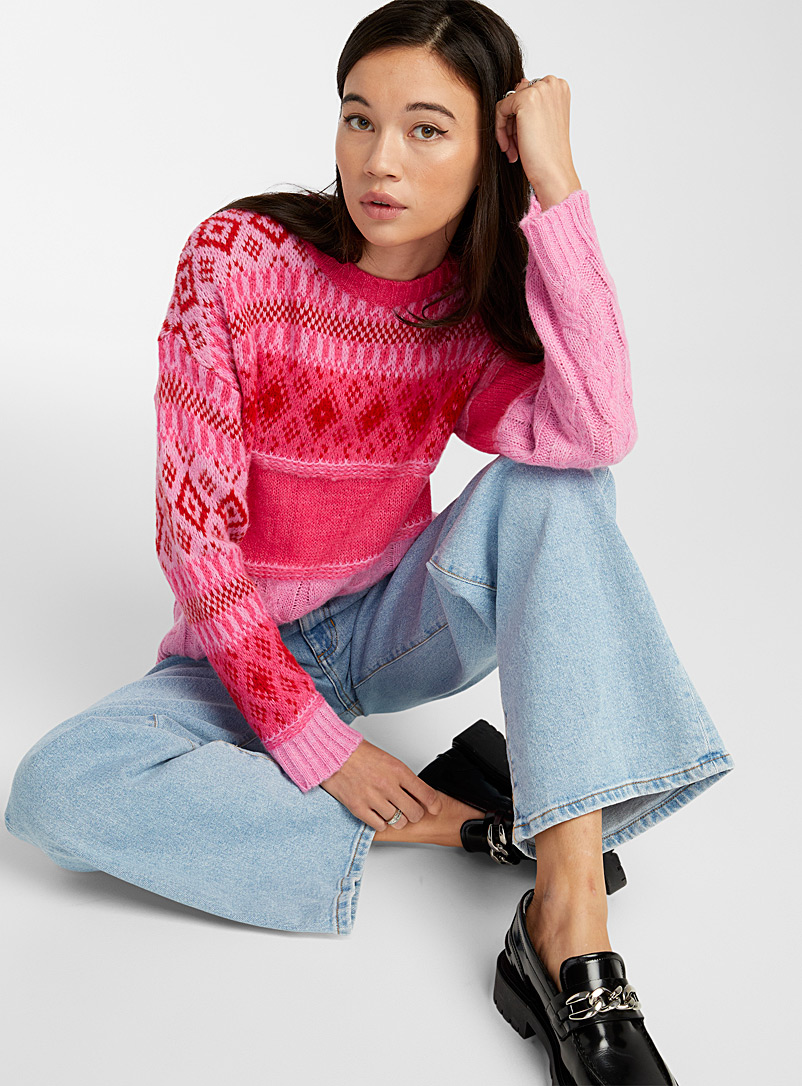 Twik Patterned Red Patchwork jacquard sweater for women