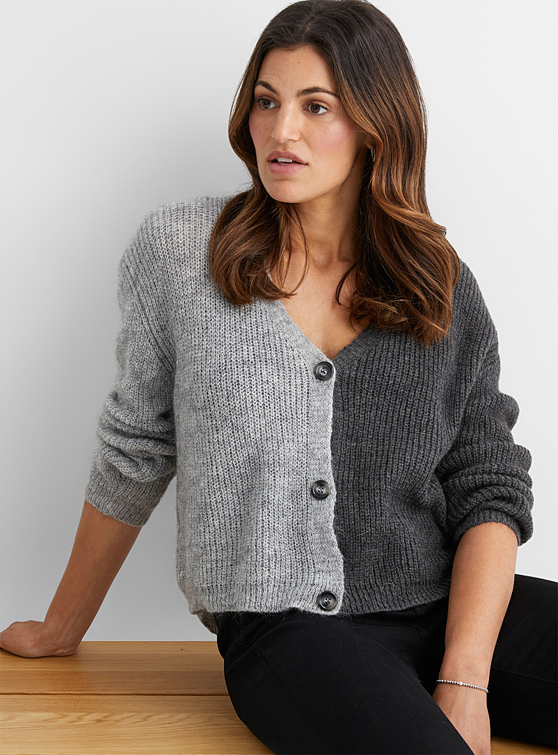 Contemporaine Light Grey Two-tone mohair cardigan for women