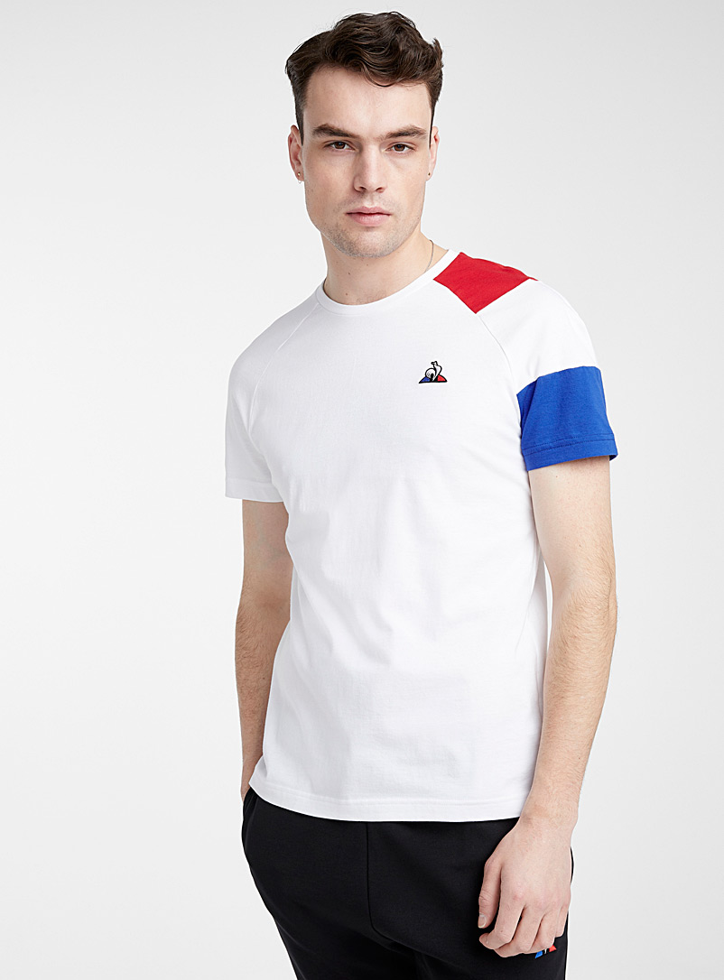 Le coq sportif White Tricolour sleeve T-shirt for men