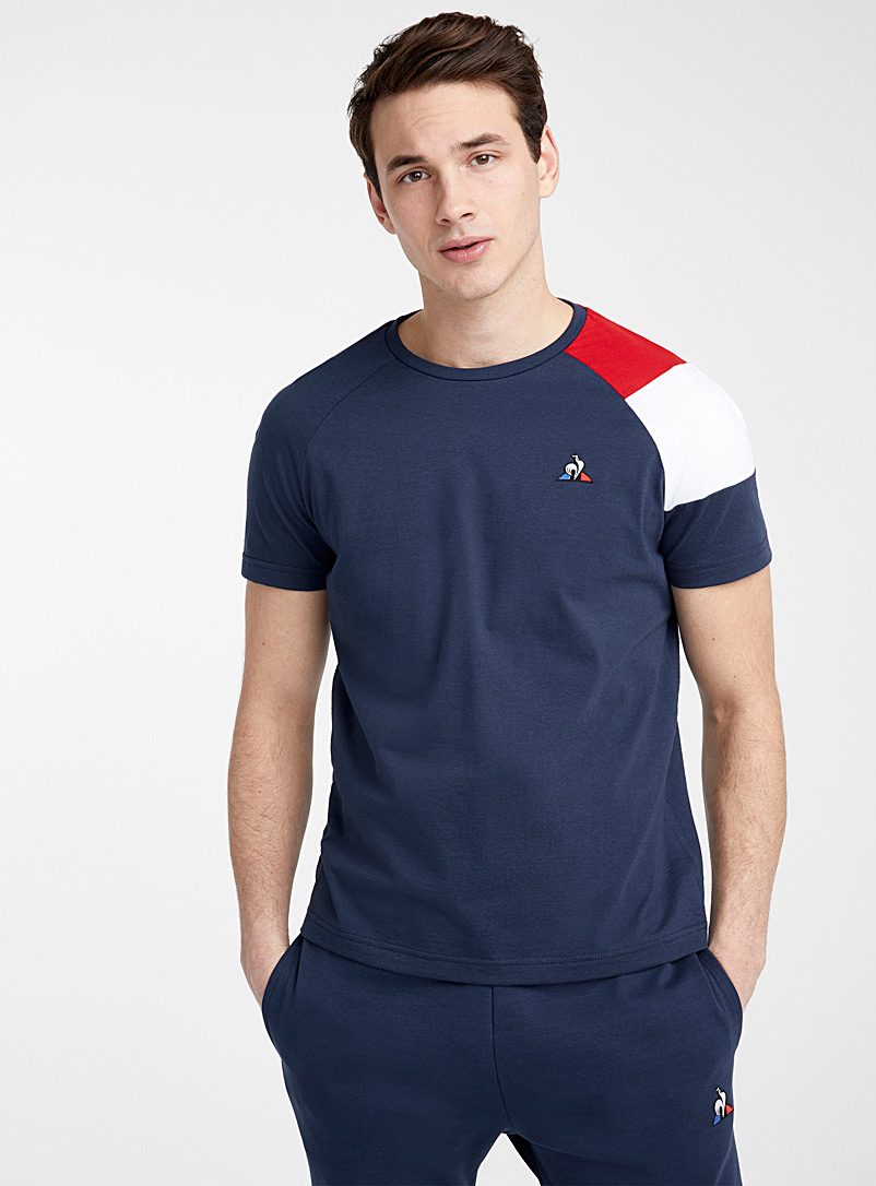 Le coq sportif Marine Blue Tricolour sleeve T-shirt for men