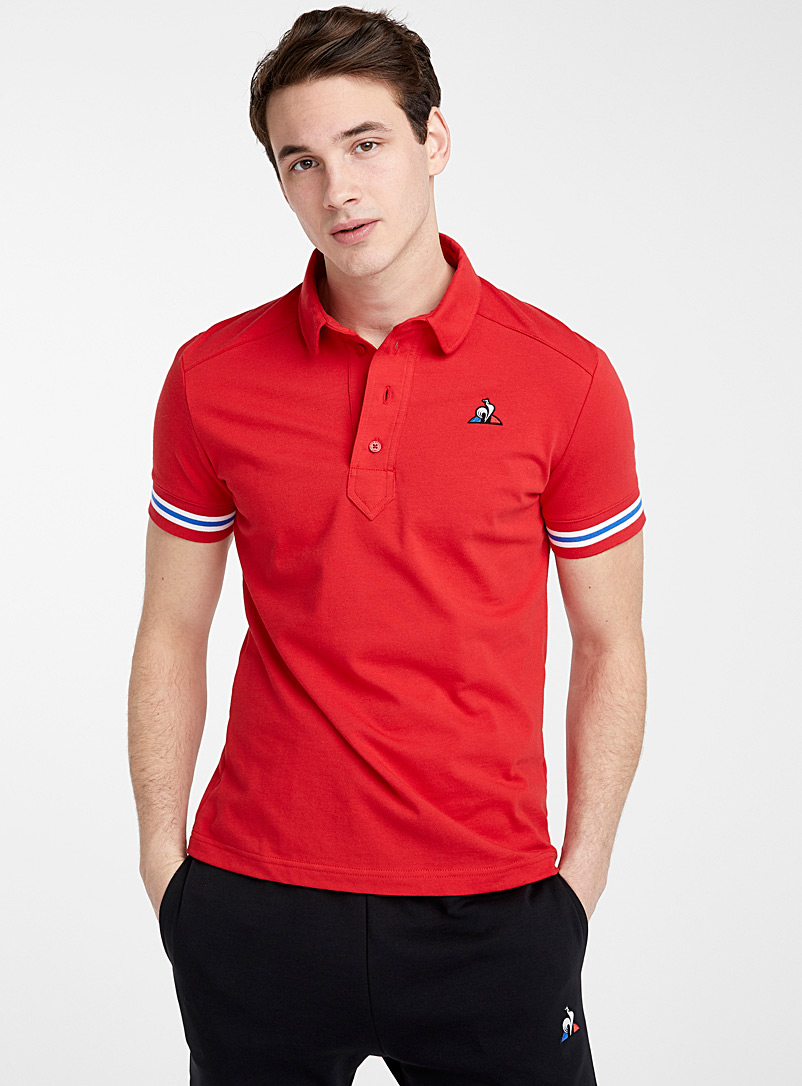 Le coq sportif Red Tricolour sleeve polo for men