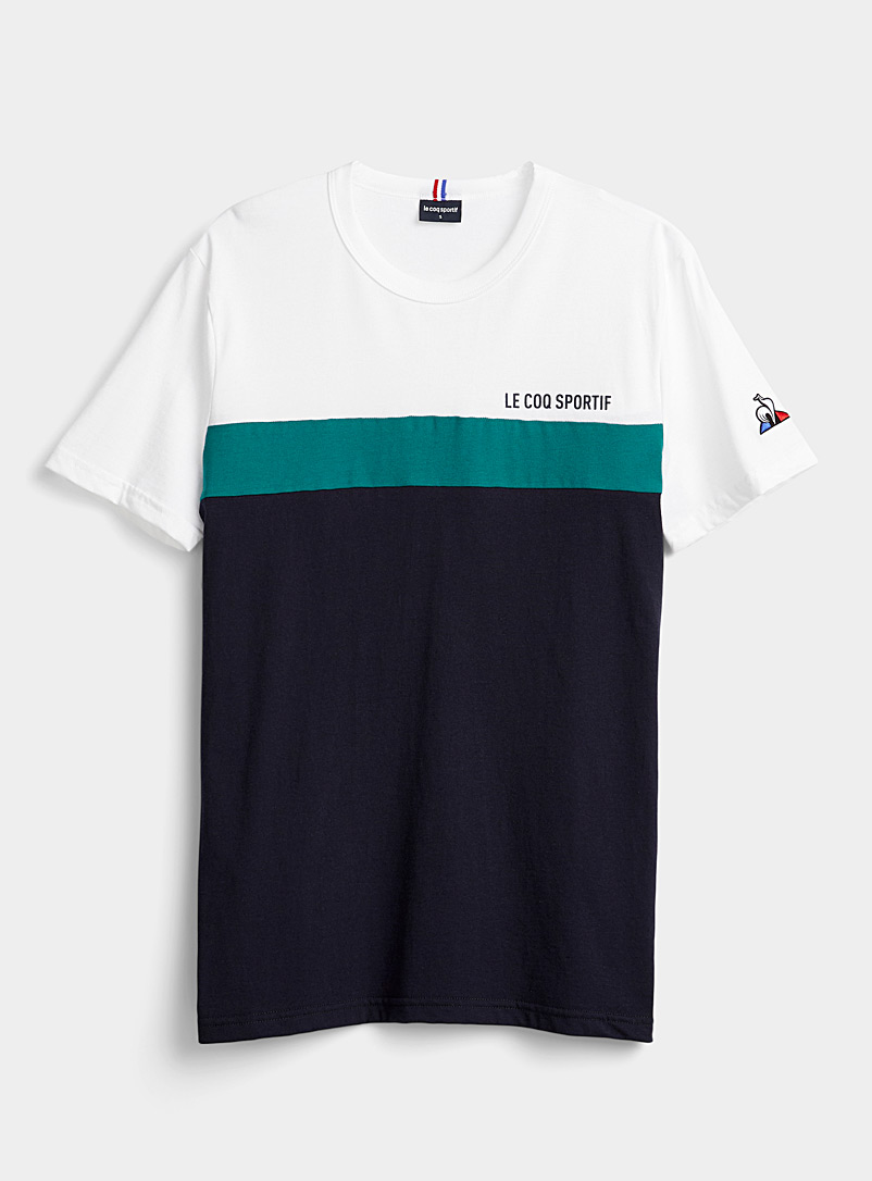 Le coq sportif White Block stripe T-shirt for men