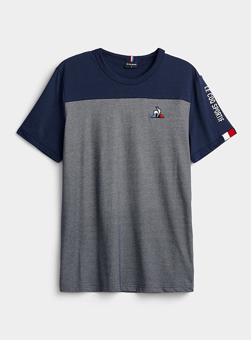 Le coq sportif Marine Blue Heathered block T-shirt for men