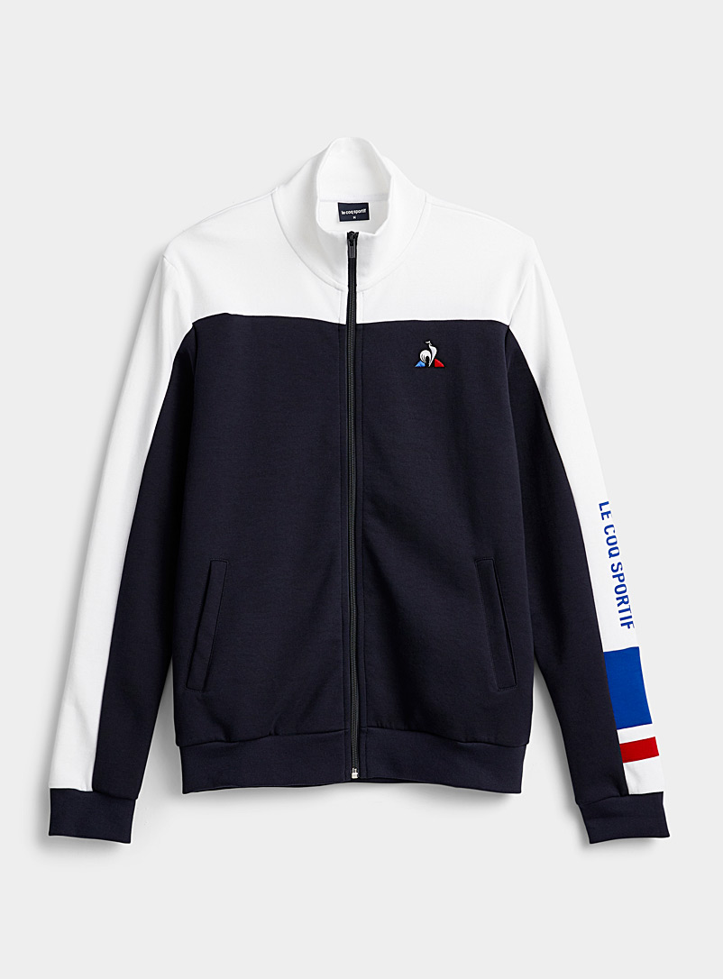 Le coq sportif Marine Blue Signature sleeve zip sweatshirt for men