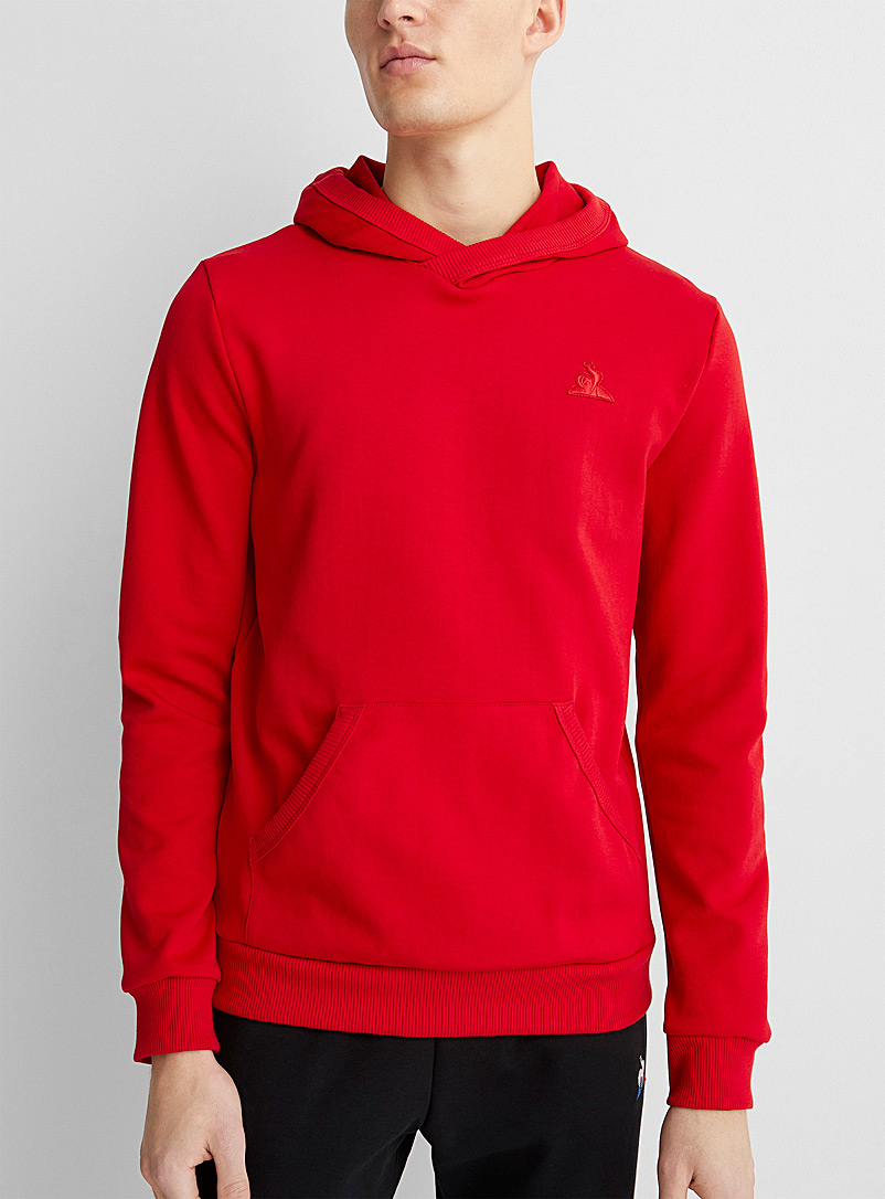Le coq sportif Red Ribbed trim red hoodie for men